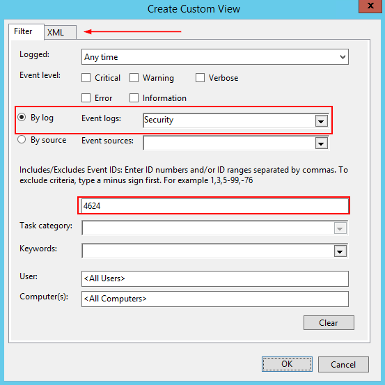 View Error Log Windows 7: Filtering Event ID 4624 By Logon Type
